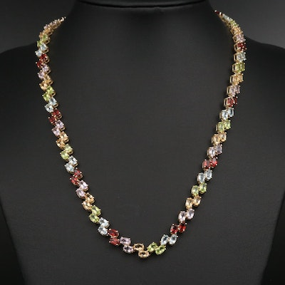 Sterling, Topaz, Peridot, Citrine and Garnet Necklace