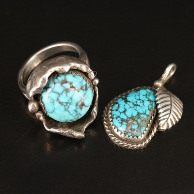 Sterling Silver Turquoise Ring and Pendant Featuring G.O. Bennett Hualapai