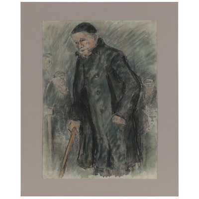 Mixed Media Drawing of Elderly Man with Cane, Late 20th Century
