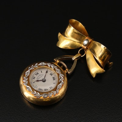 Vintage 18K Gold and Diamond Movado Chronometre Pocket Watch Brooch