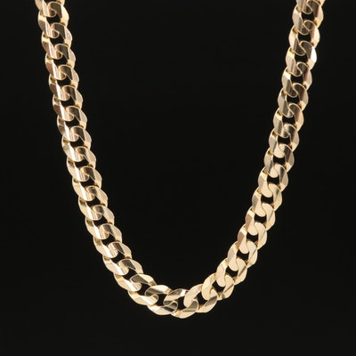 14K Concave Curb Chain Necklace
