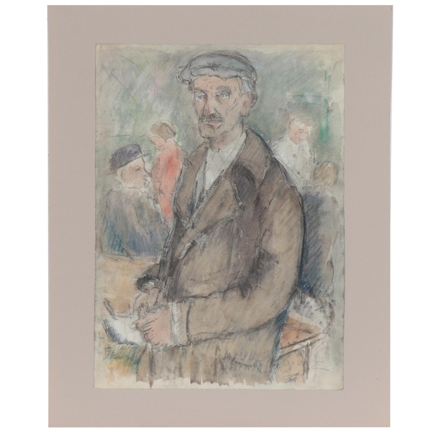 Mixed Media Portrait Drawing of Man in a Hat, Late 20th Century