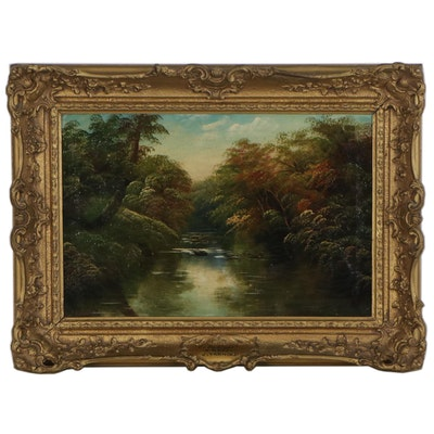 """Oil Painting Attributed to Joseph W. Yarnold """"On the Lledr"""""""