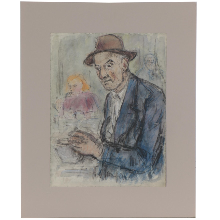 Mixed Media Portrait Drawing, Late 20th Century