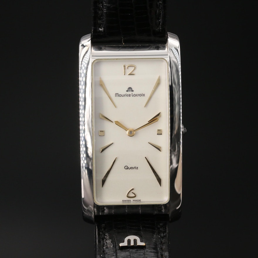 Maurice Lacroix Tank Style Gold Plated Wristwatch