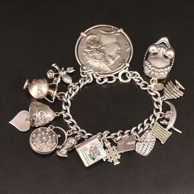 Mixed Metal Charm Bracelet Featuring Replica Ancient Greek Coin and Fine Silver