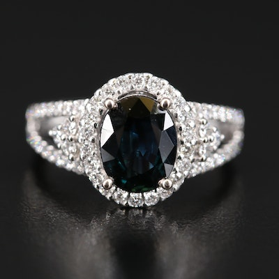14K 2.07 CT Sapphire and Diamond Ring