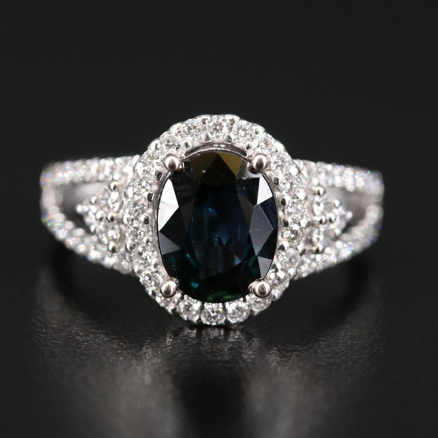14K 2.07 CT Sapphire and Diamond Ring