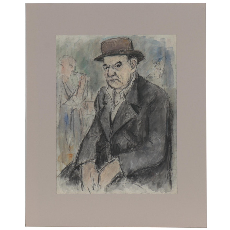 Watercolor and Charcoal Drawing of Figure with a Hat, Late 20th Century