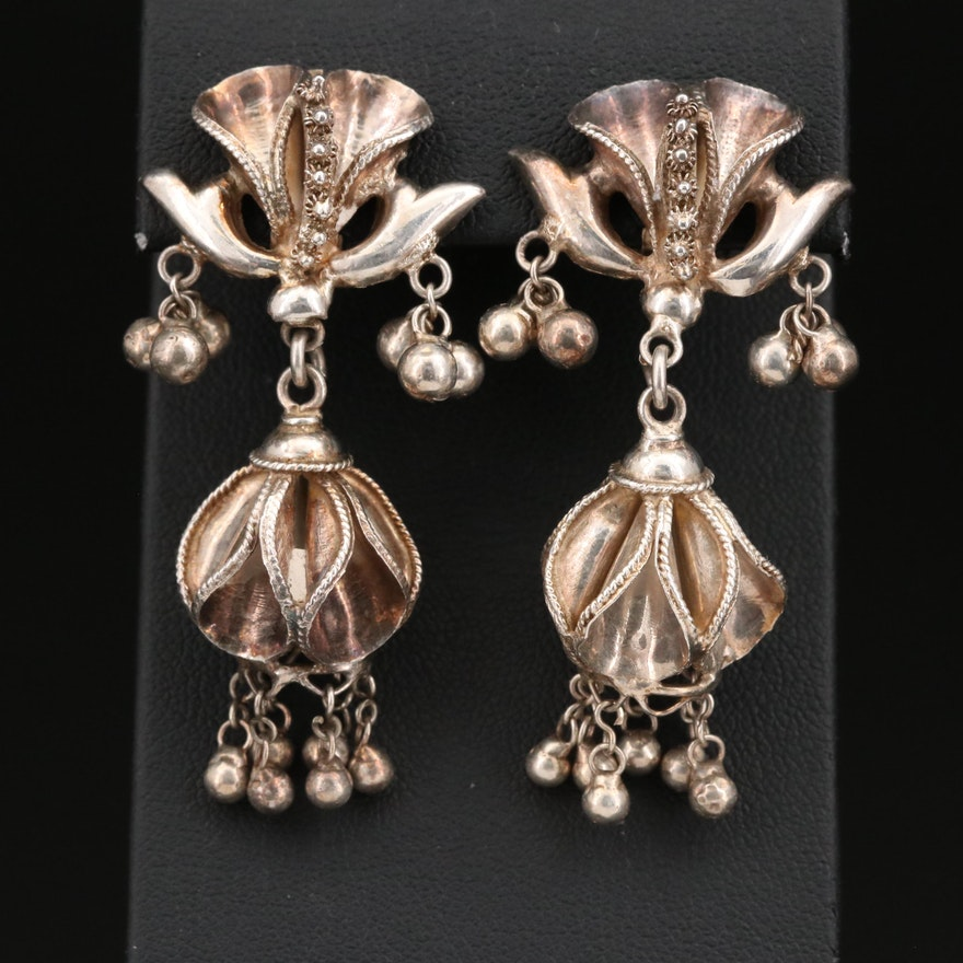 Sterling Silver Fluted Clip Earrings with Braiding and Cannetille Accents