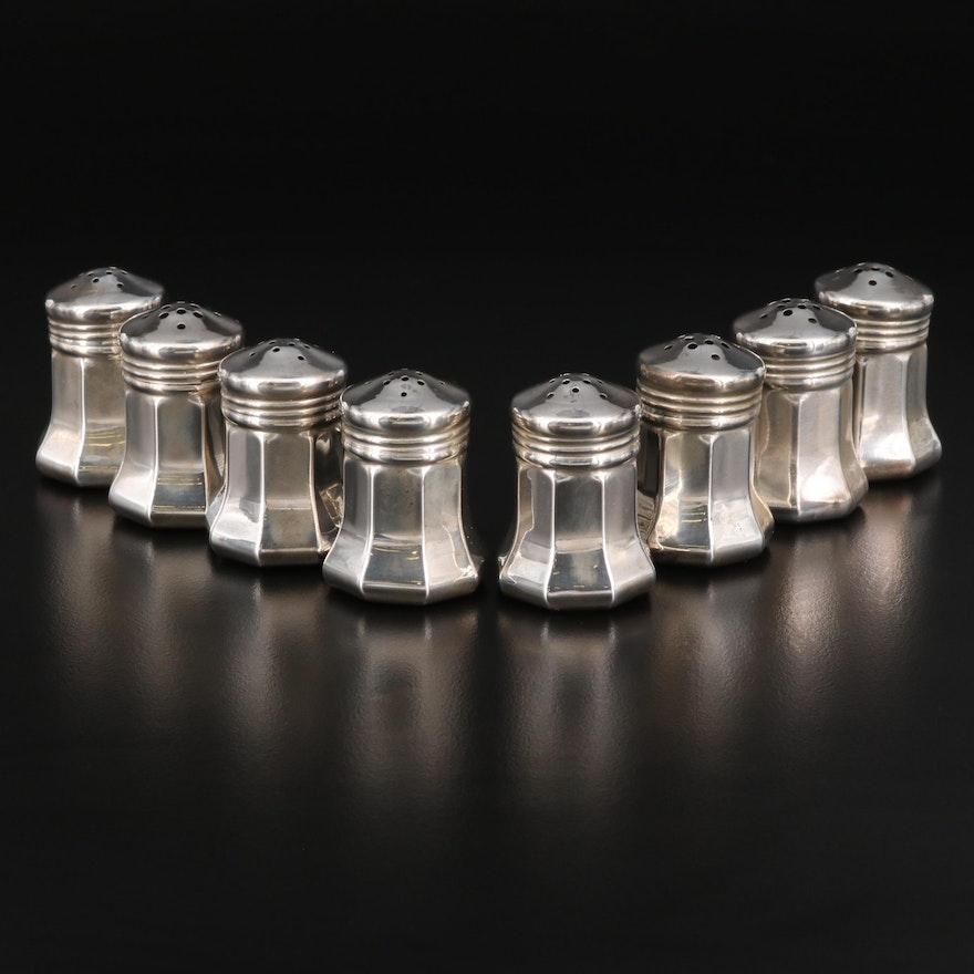 Cartier Sterling Silver Individual Salt and Pepper Shaker Sets in Box, Vintage