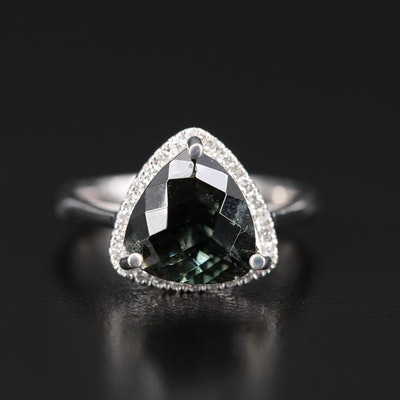 14K 3.50 CT Tourmaline and Diamond Triangular Ring