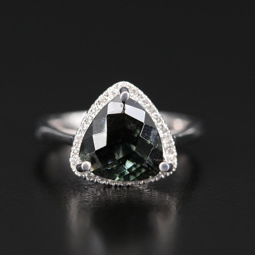 14K 3.50 CT Tourmaline and Diamond Triangular Ring