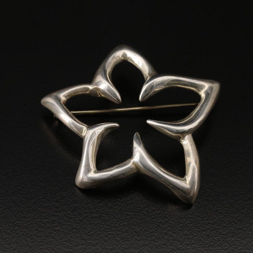 Tiffany & Co. Sterling Plumeria Flower Brooch