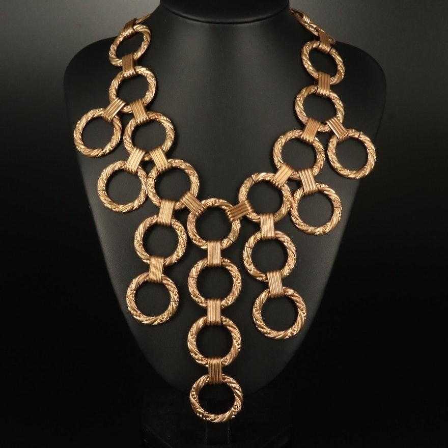 Vintage Twisted Circular Link Bib Necklace