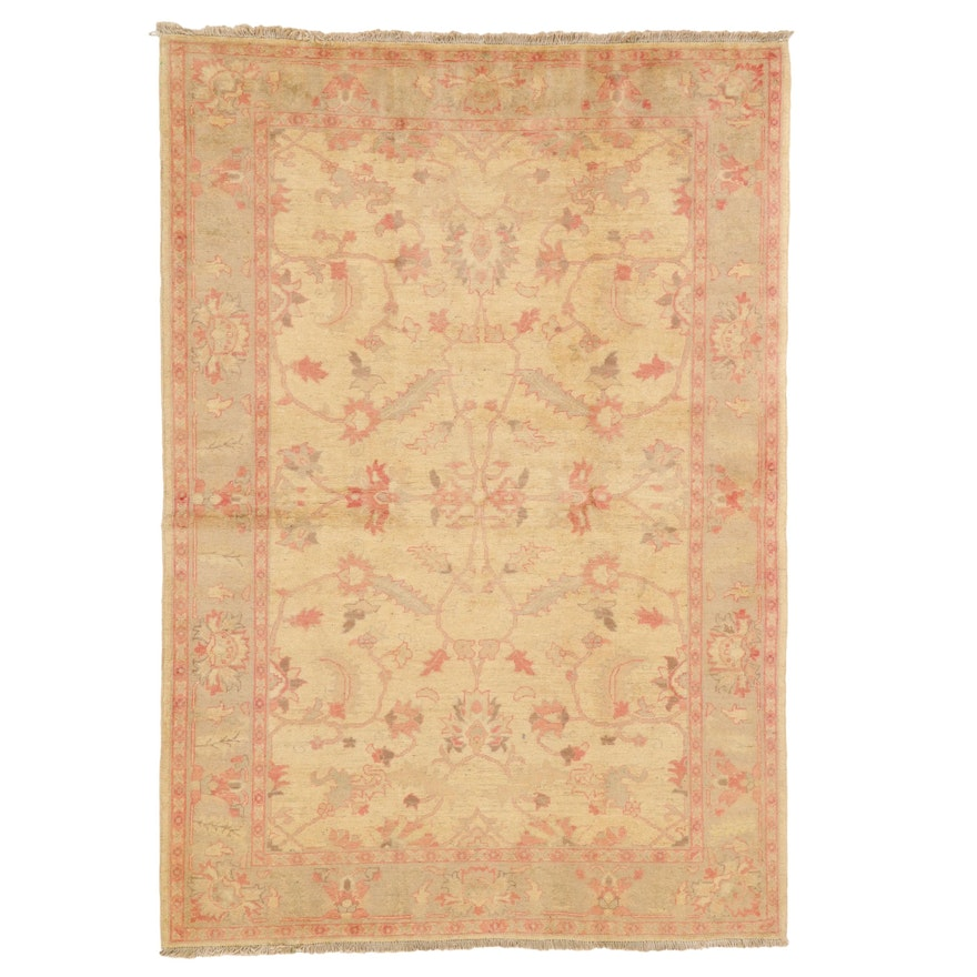5'1 x 7'3 Hand-Knotted Indo-Turkish Oushak Wool Area Rug