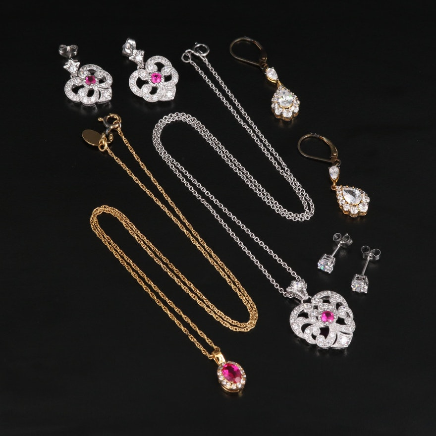 Sterling Ruby and Cubic Zirconia Necklaces and Earrings Including Stauer Chain