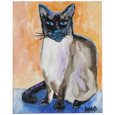 "Darryl Oberling Oil Painting ""Siamese Cat,"" 2020"