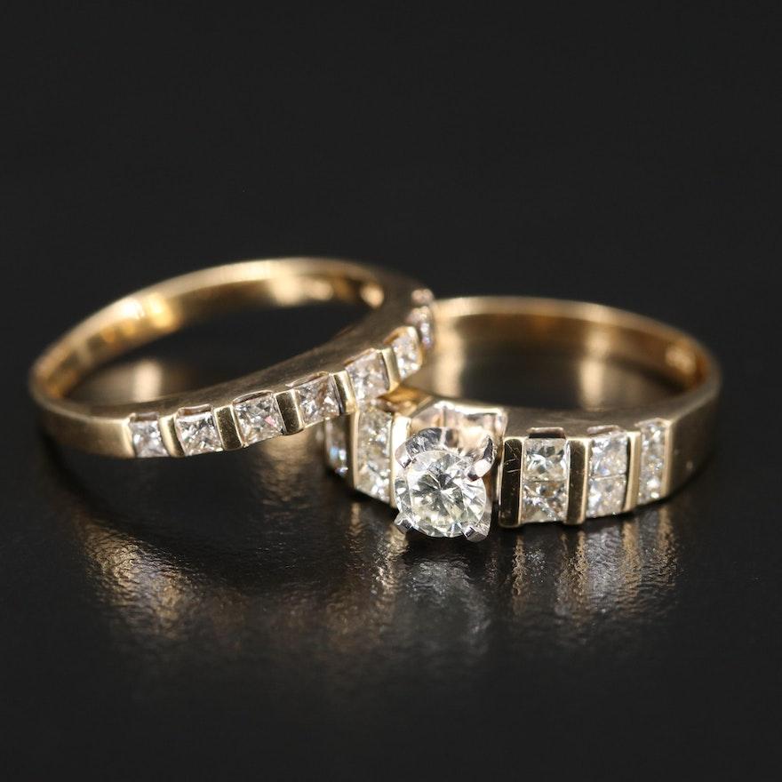 14K 1.54 CTW Diamond Multi-Row Ring Set