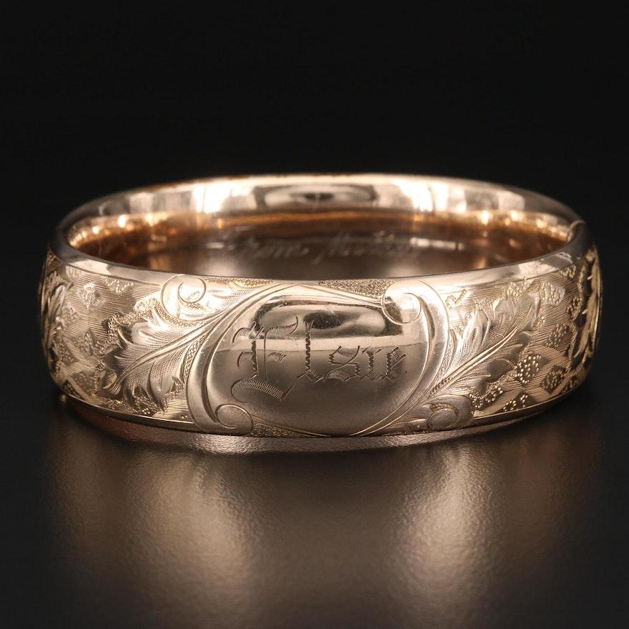 Vintage Gold Filled Engraved Hinged Bangle