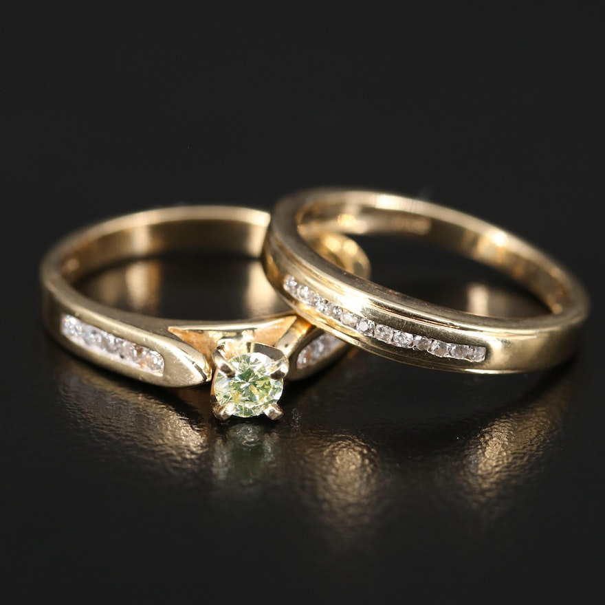 14K Diamond Cathedral Ring and Channel Band