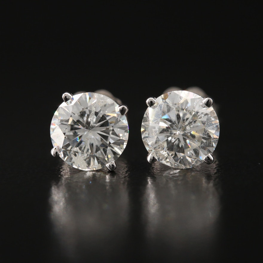 18K 3.04 CTW Diamond Stud Earrings with GIA Report and eReport