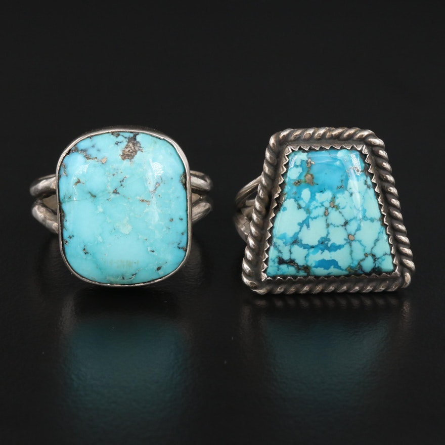 Sterling Turquoise Rings Including Artist Signed Ring