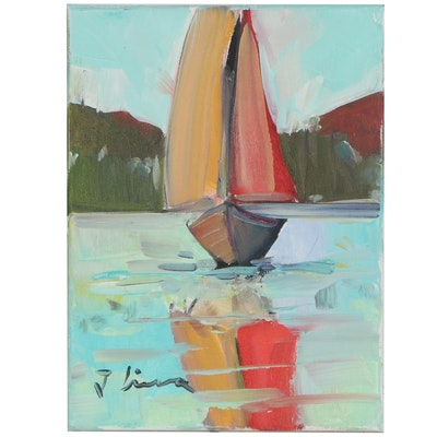 José M. Lima Impressionist Style Oil Painting of Sailboat