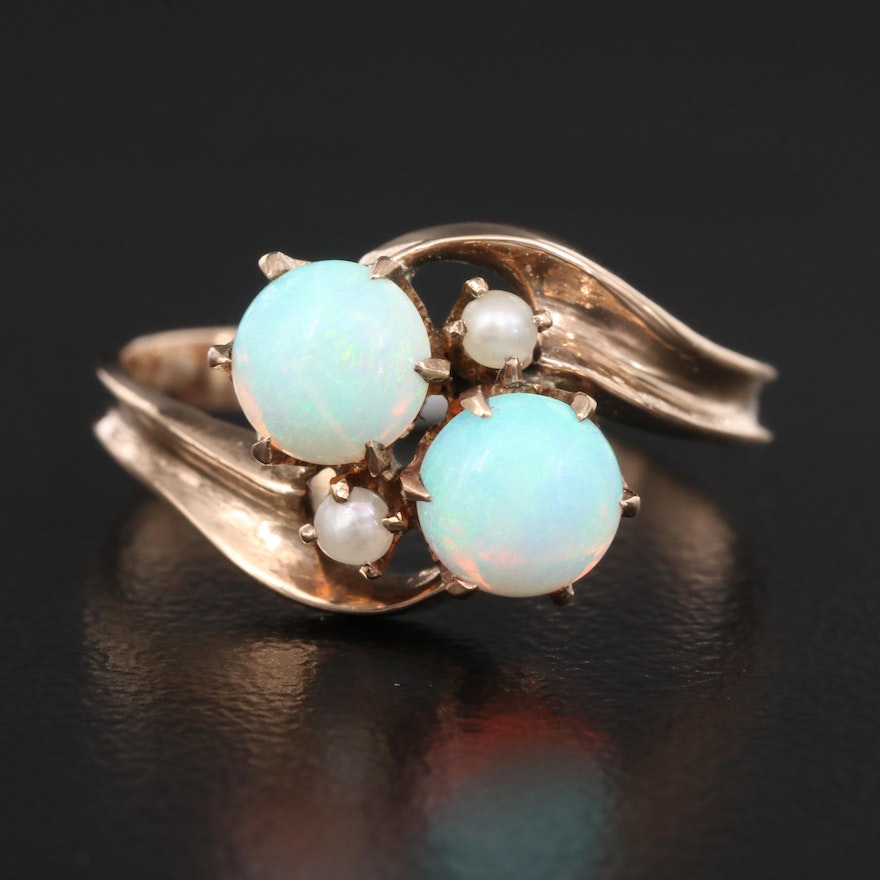 10K Opal and Pearl Bypass Ring