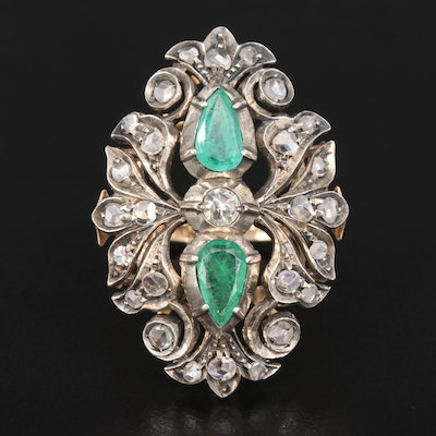 Vintage Style 800 Silver and 18K Emerald and Diamond Foliate Ring