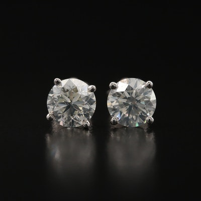 18K 1.71 CTW Diamond Stud Earrings with GIA Diamond Dossier Report and eReport