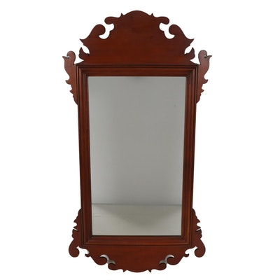 Elder Wheeler Scroll Cut Cherry Chippendale Wall Mirror, Late 20th Century