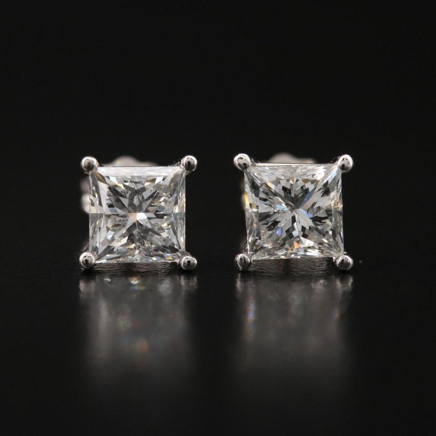 18K 2.10 CTW Diamond Stud Earrings with GIA eReports