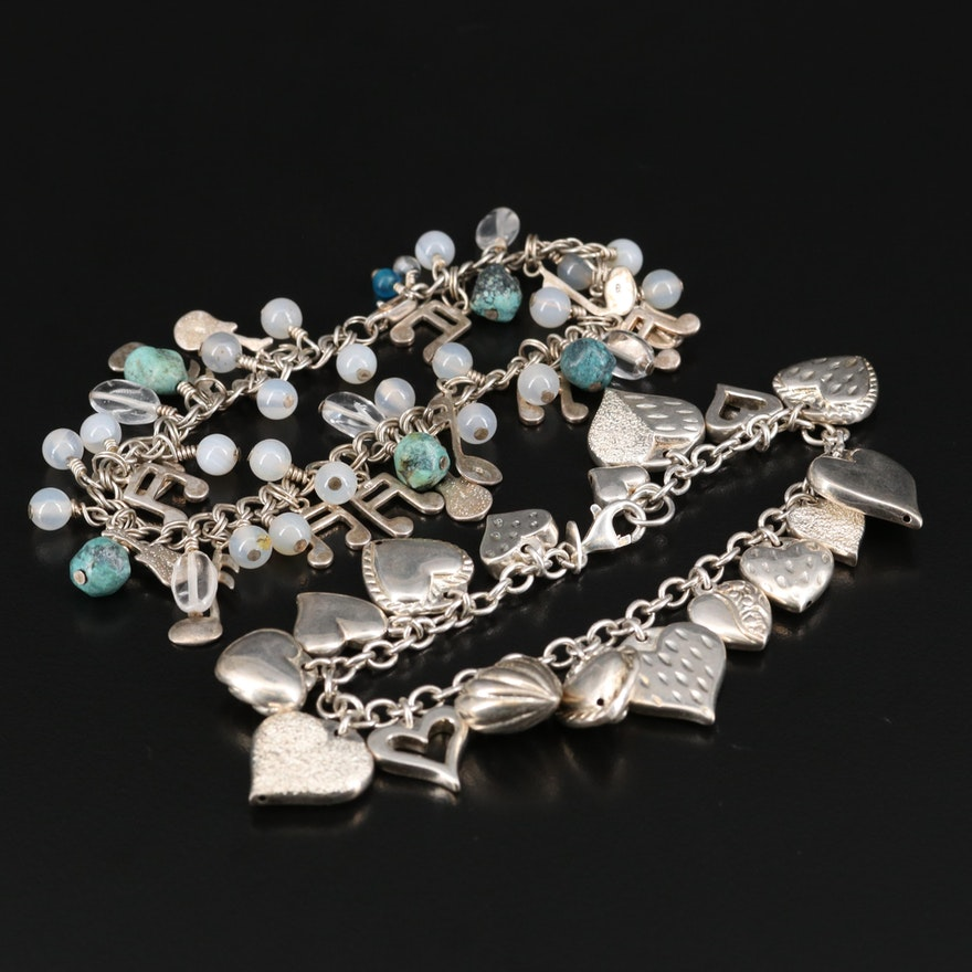 Charm Bracelets Including Hearts, Music, Agate, Rock Crystal Quartz and More