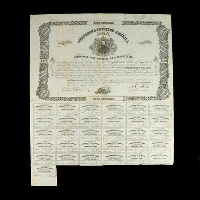Confederate States Loan for $500 with $20 Notes