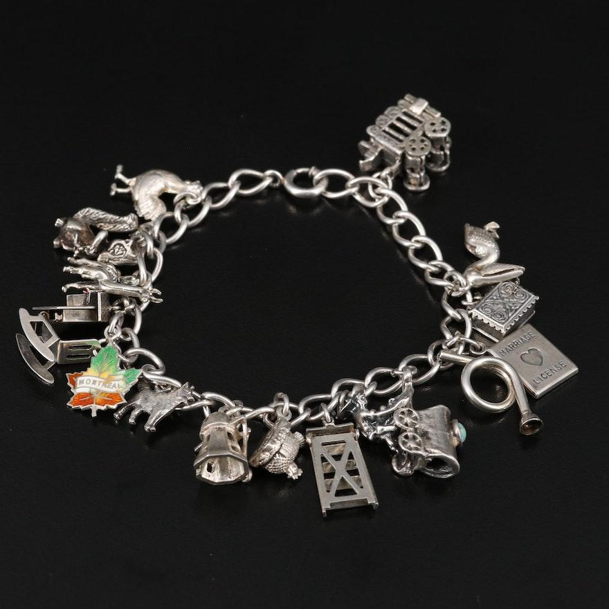 Vintage Sterling Charm Bracelet Including Articulation, Enamel and Turquoise