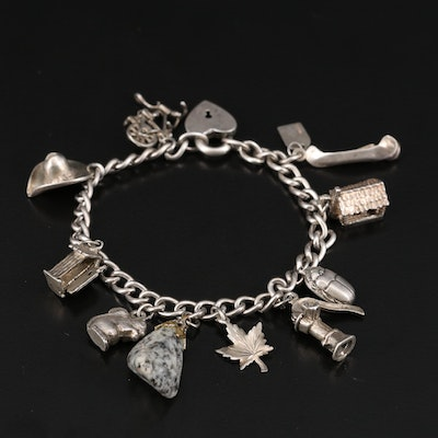 Vintage Sterling Charm Bracelet Including Scarab and Articulation