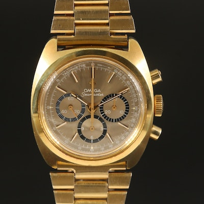 1970 Omega Seamaster Chronograph Gold Plated Stem Wind Wristwatch