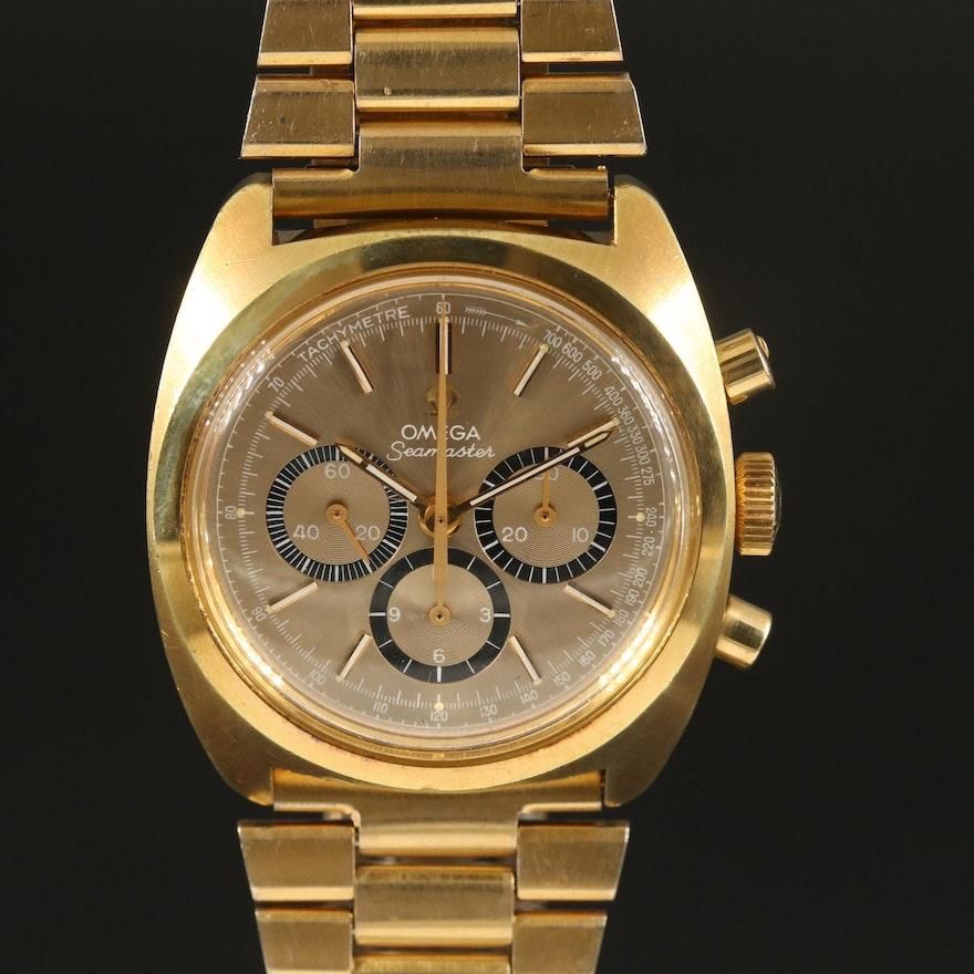 1970 Omega Seamaster Chronograph Gold Plated Stem Wind Wristwatch