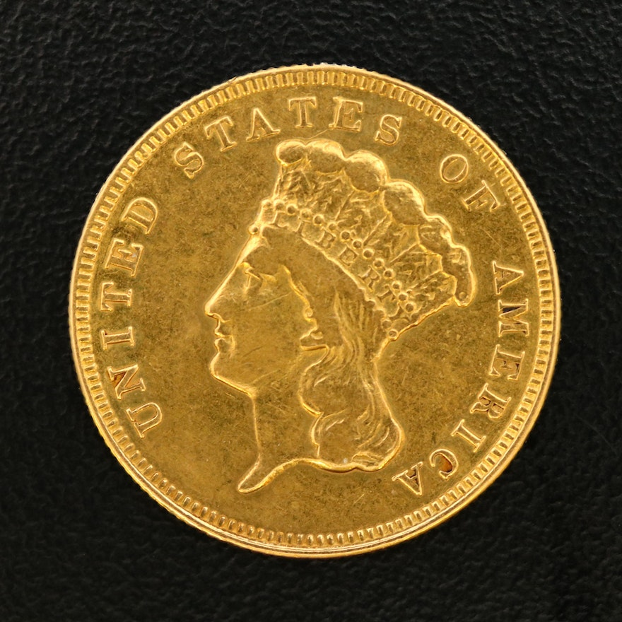Low Mintage 1889 Indian Princess Head $3 Gold Coin
