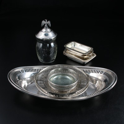 Silver Plate Bread Tray, Miniature Covered Dishes, Basket, and Other Tableware