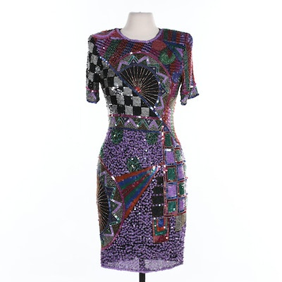 Swee Lo Sequin Embellished Black Silk Shift Dress