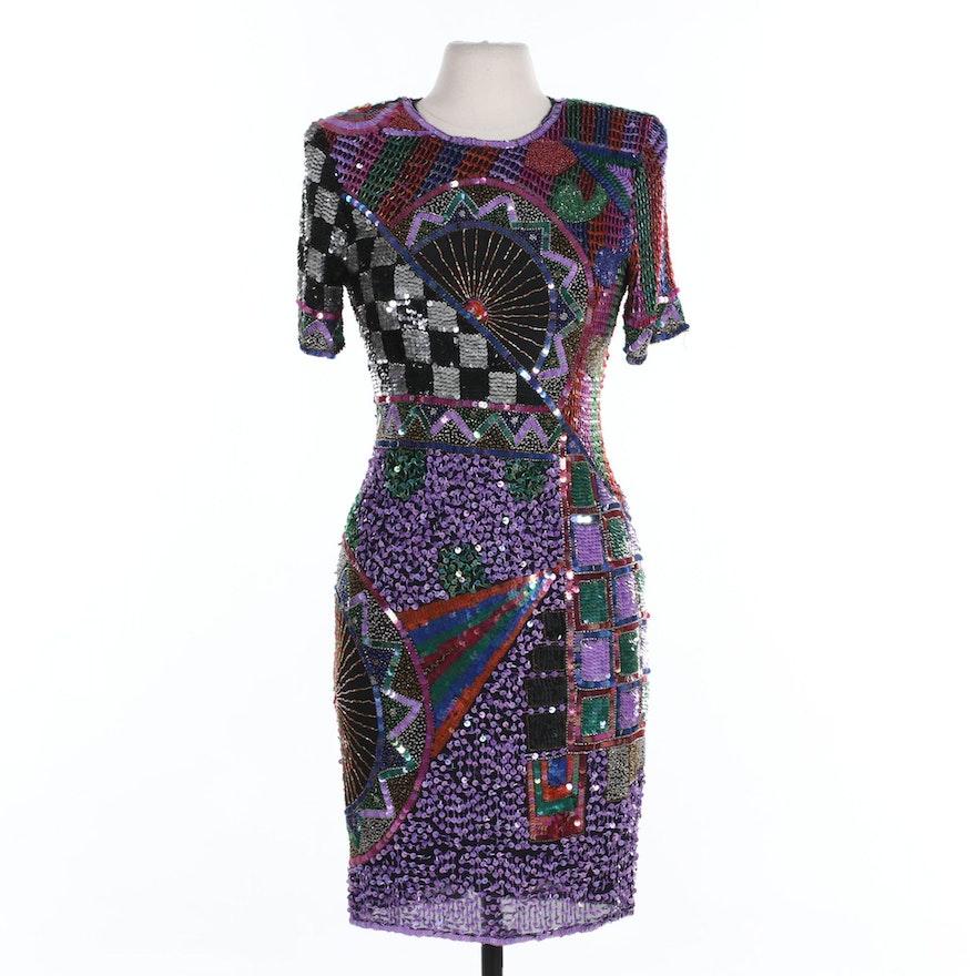 Swee Lo Sequin Embellished Black Silk Shift Dress