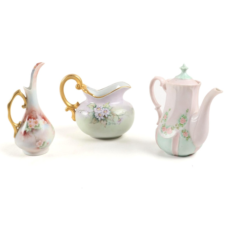 Hobbyist Porcelain Hand Painted Floral Motif Pitchers Mid to Late 20th Century