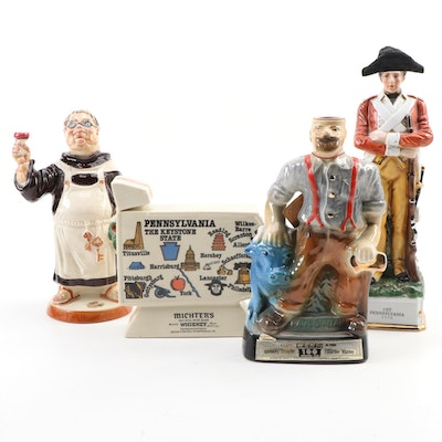 Jim Beam Paul Bunuan and Other Ceramic Figural Decanters, Mid-Late 20th Century