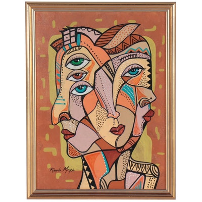 Ricardo Maya Acrylic Painting of Cubist Style Figure
