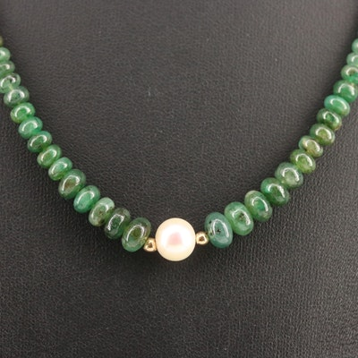 14K Pearl and Nephrite Graduated Necklace