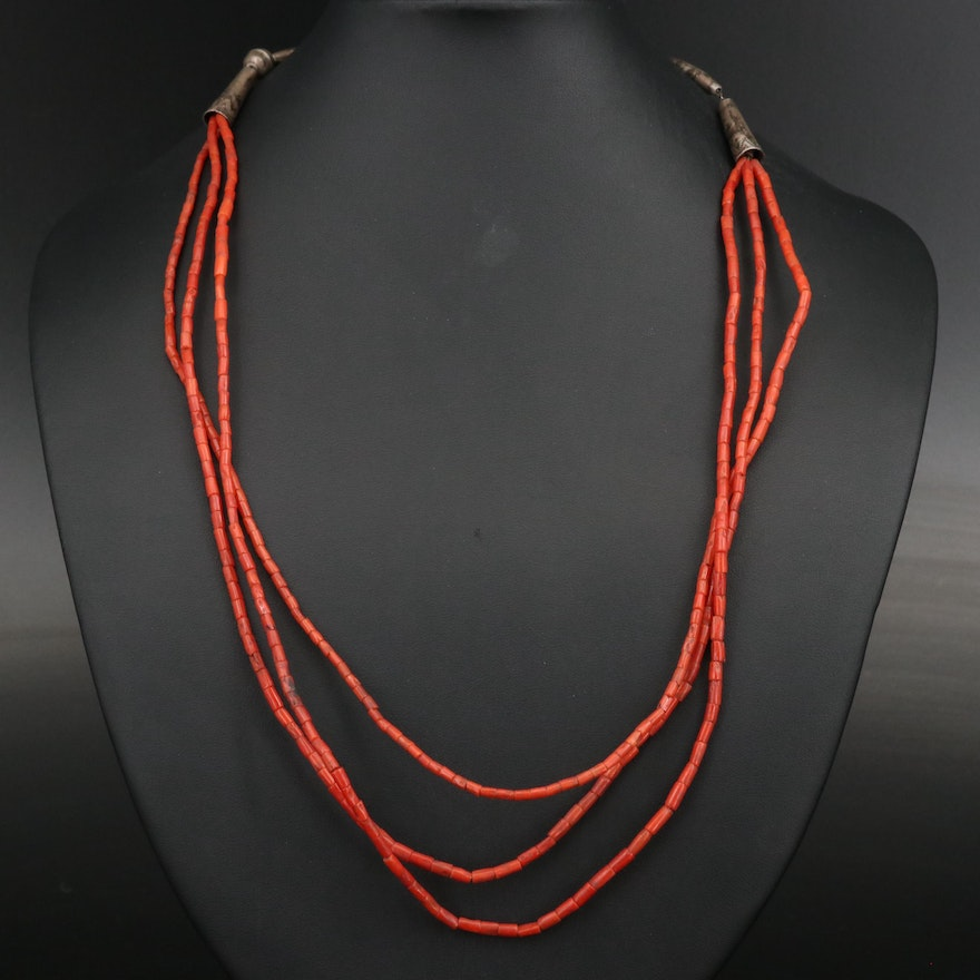 Sterling Silver Beaded Coral Necklace