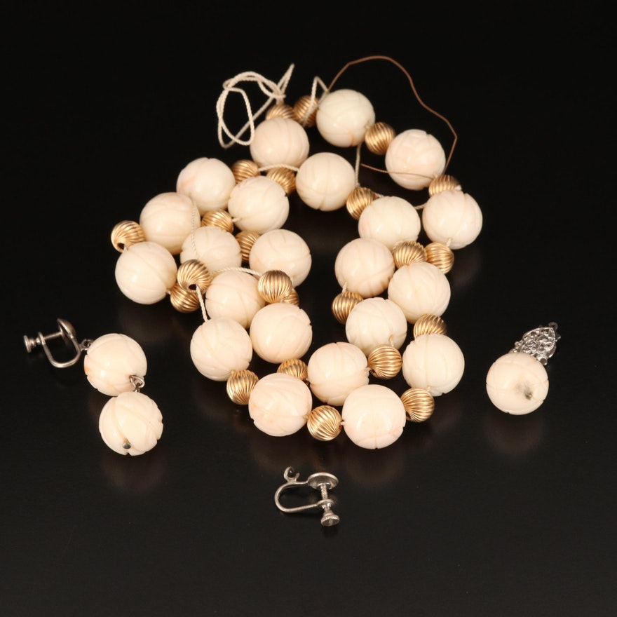 Scrap Sterling and 14K Carved Round Angel Skin Coral Findings
