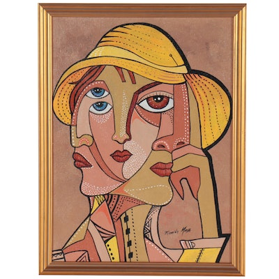 Ricardo Maya Acrylic Painting of Cubist Style Figure in Yellow Cap